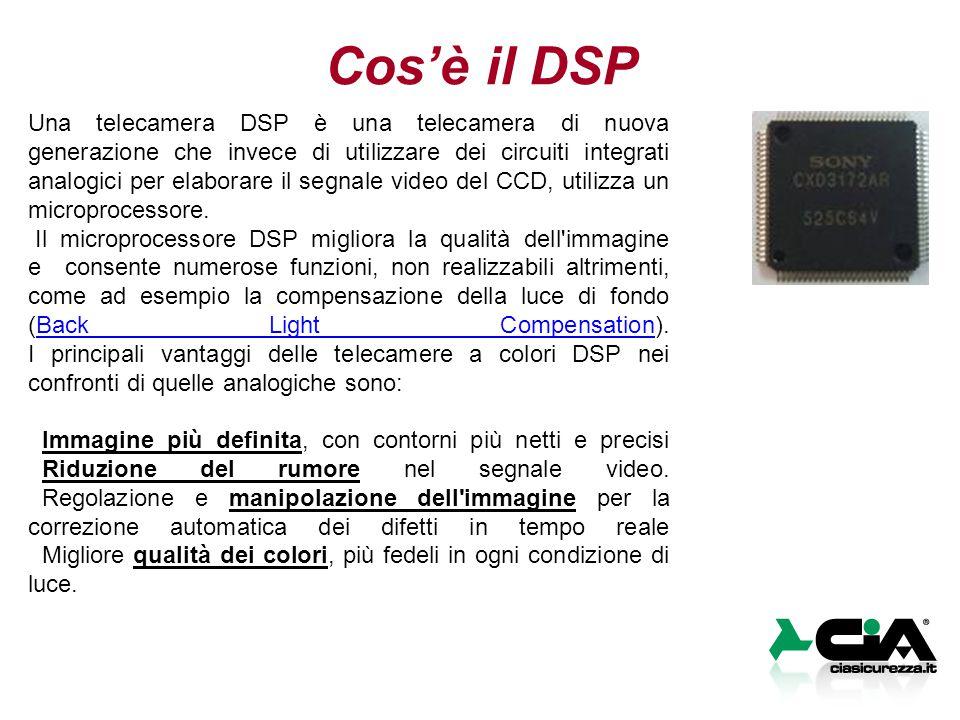 Cos'è il DSP Una telecamera DSP è una telecamera di nuova generazione che invece di utilizzare dei circuiti integrati analogici per elaborare il segnale video del CCD, utilizza un microprocessore.
