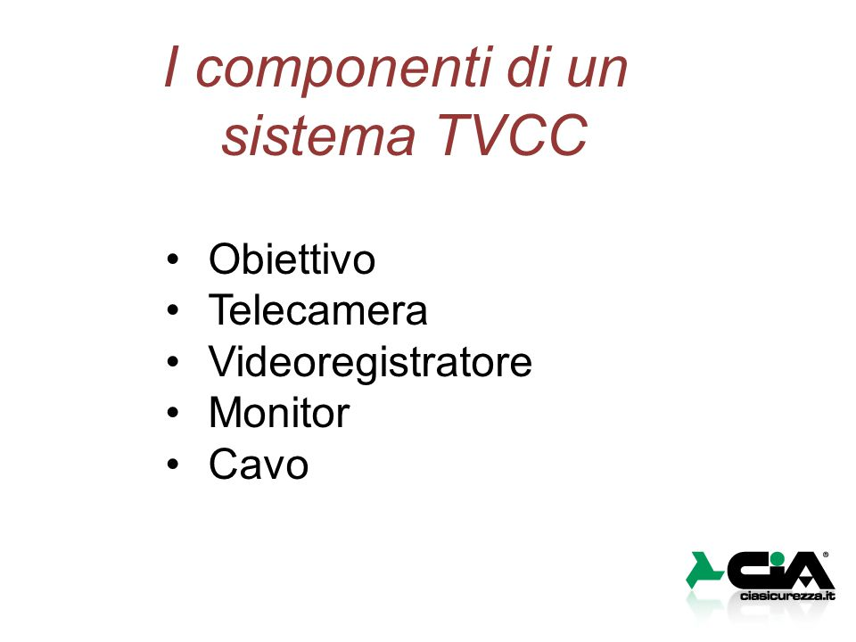 I componenti di un sistema TVCC Obiettivo Telecamera Videoregistratore Monitor Cavo