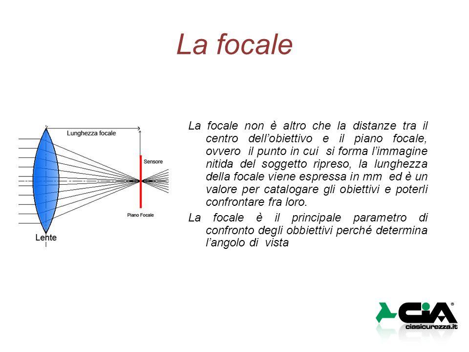 La focale La focale non è altro che la distanze tra il centro dell'obiettivo e il piano focale, ovvero il punto in cui si forma l'immagine nitida del soggetto ripreso, la lunghezza della focale viene espressa in mm ed è un valore per catalogare gli obiettivi e poterli confrontare fra loro.