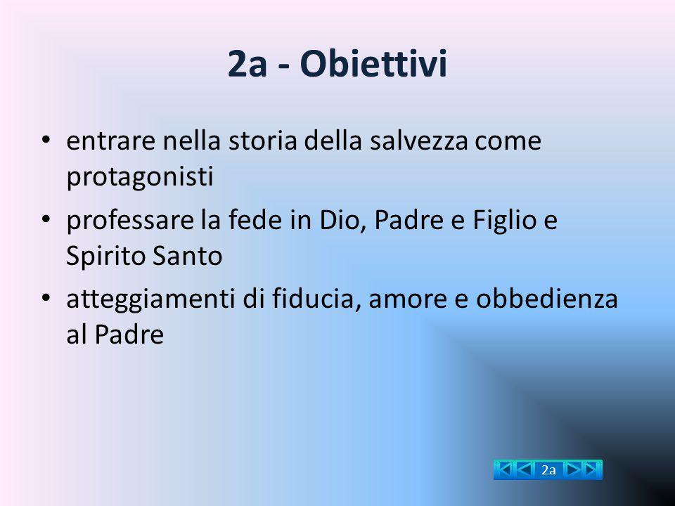 2a - Obiettivi entrare nella storia della salvezza come protagonisti professare la fede in Dio, Padre e Figlio e Spirito Santo atteggiamenti di fiduci