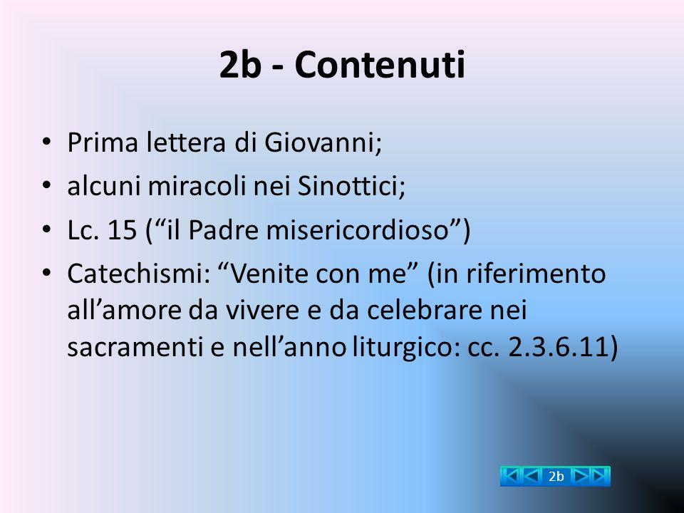 """2b - Contenuti Prima lettera di Giovanni; alcuni miracoli nei Sinottici; Lc. 15 (""""il Padre misericordioso"""") Catechismi: """"Venite con me"""" (in riferiment"""