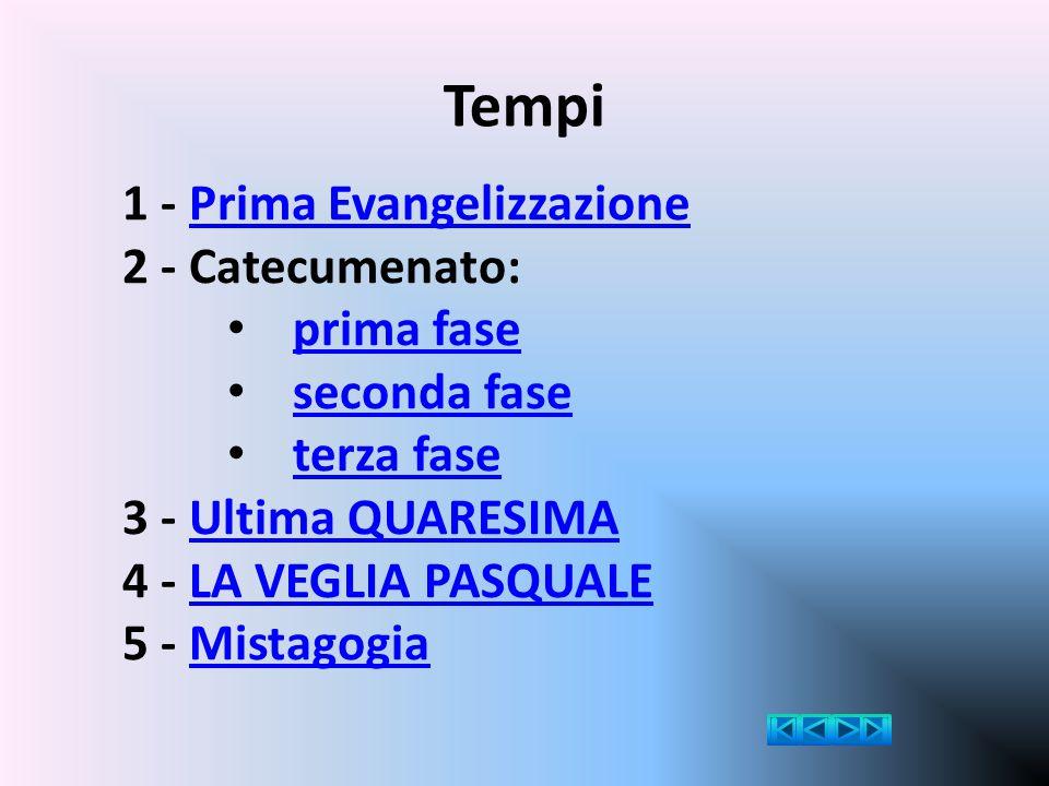 1 - Prima EvangelizzazionePrima Evangelizzazione 2 - Catecumenato: prima fase seconda fase terza fase 3 - Ultima QUARESIMAUltima QUARESIMA 4 - LA VEGL