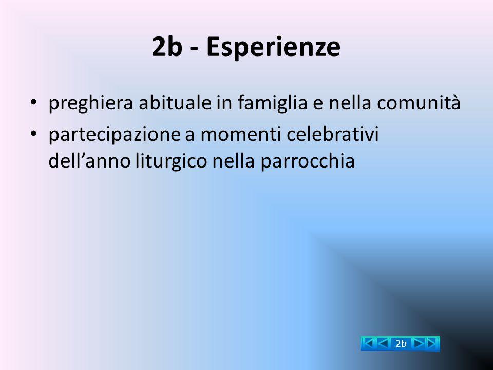 2b - Esperienze preghiera abituale in famiglia e nella comunità partecipazione a momenti celebrativi dell'anno liturgico nella parrocchia 2b