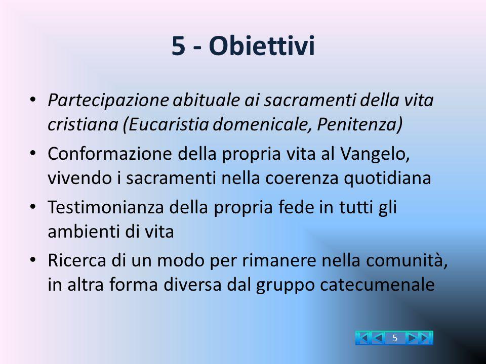 5 - Obiettivi Partecipazione abituale ai sacramenti della vita cristiana (Eucaristia domenicale, Penitenza) Conformazione della propria vita al Vangel