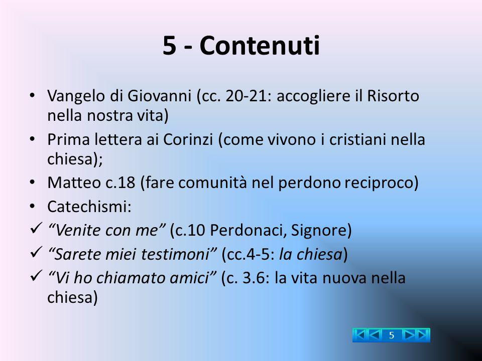 5 - Contenuti Vangelo di Giovanni (cc. 20-21: accogliere il Risorto nella nostra vita) Prima lettera ai Corinzi (come vivono i cristiani nella chiesa)