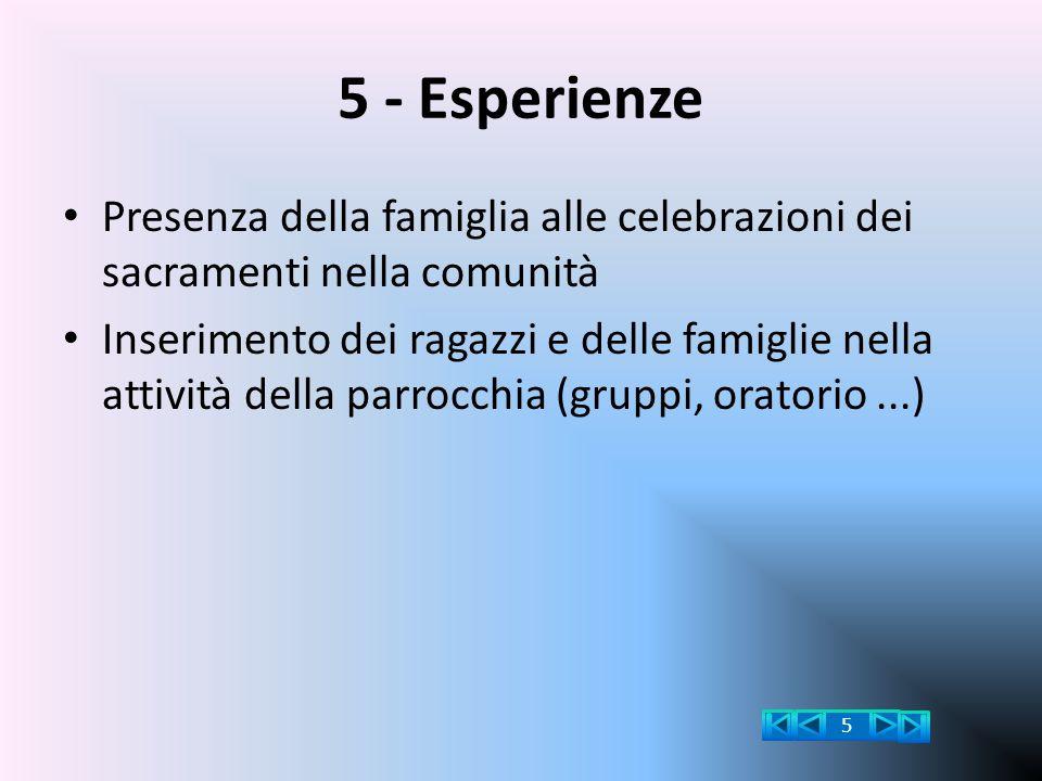 5 - Esperienze Presenza della famiglia alle celebrazioni dei sacramenti nella comunità Inserimento dei ragazzi e delle famiglie nella attività della p