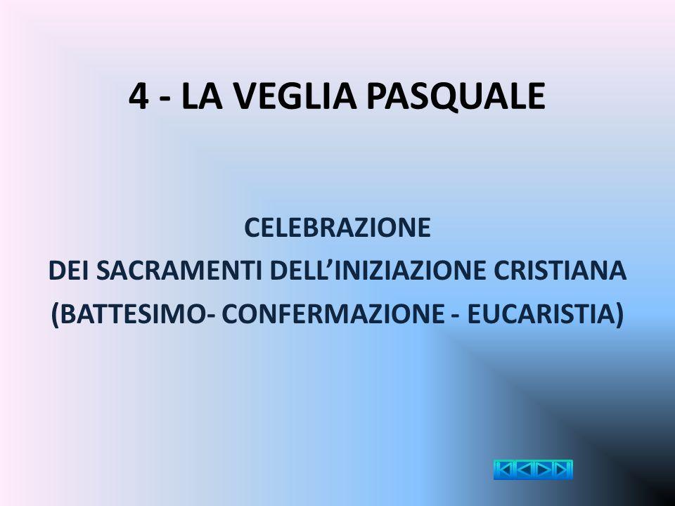 4 - LA VEGLIA PASQUALE CELEBRAZIONE DEI SACRAMENTI DELL'INIZIAZIONE CRISTIANA (BATTESIMO- CONFERMAZIONE - EUCARISTIA)
