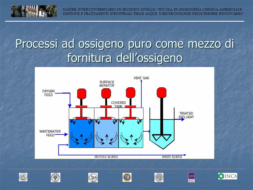 Processi ad ossigeno puro come mezzo di fornitura dell'ossigeno MASTER INTERUNIVERSITARIO DI SECONDO LIVELLO: SCUOLA DI INGEGNERIA CHIMICA AMBIENTALE - GESTIONE E TRATTAMENTI INDUSTRIALI DELLE ACQUE E BIOTECNOLOGIE DELLE RISORSE RINNOVABILI
