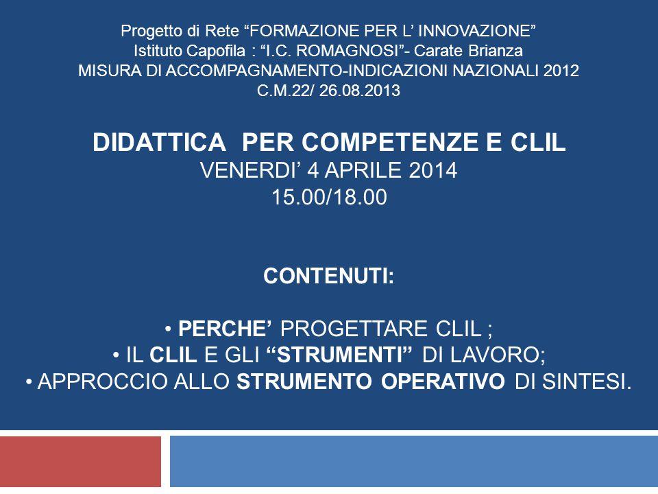 Progetto di Rete FORMAZIONE PER L' INNOVAZIONE Istituto Capofila : I.C.