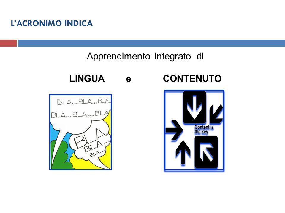 Apprendimento Integrato di LINGUA e CONTENUTO L'ACRONIMO INDICA