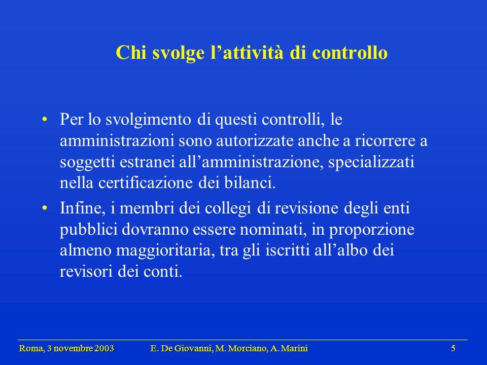 Roma, 3 novembre 2003 E.De Giovanni, M. Morciano, A.