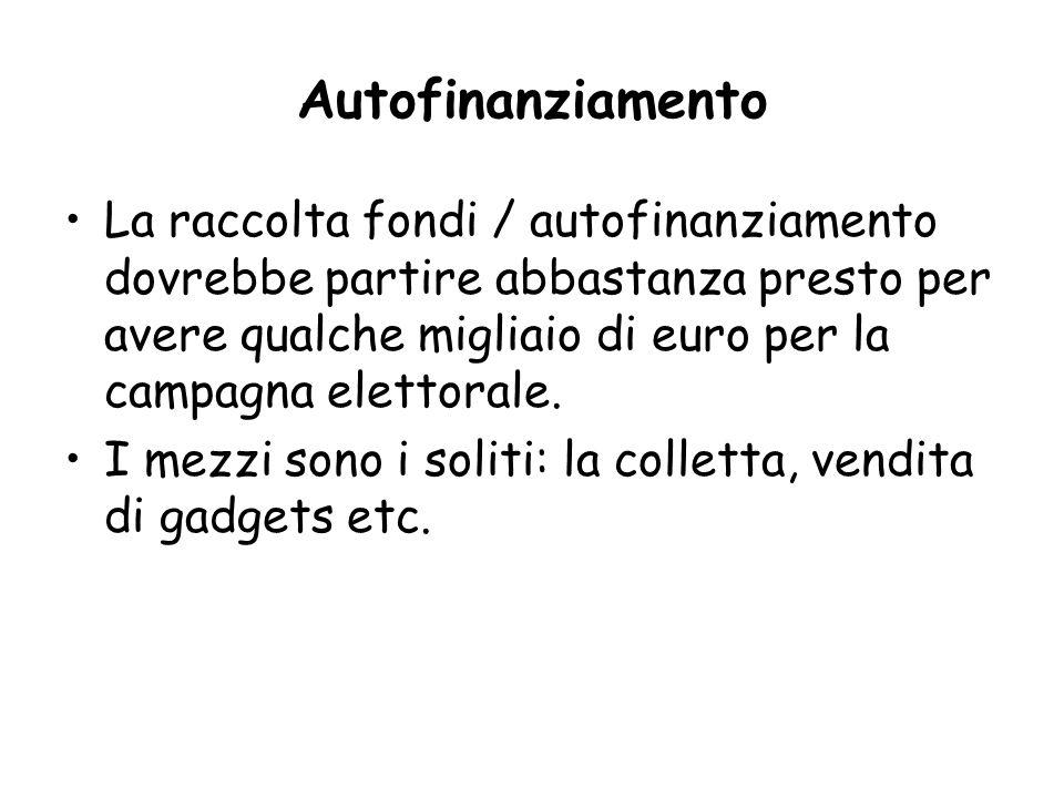 Autofinanziamento La raccolta fondi / autofinanziamento dovrebbe partire abbastanza presto per avere qualche migliaio di euro per la campagna elettorale.