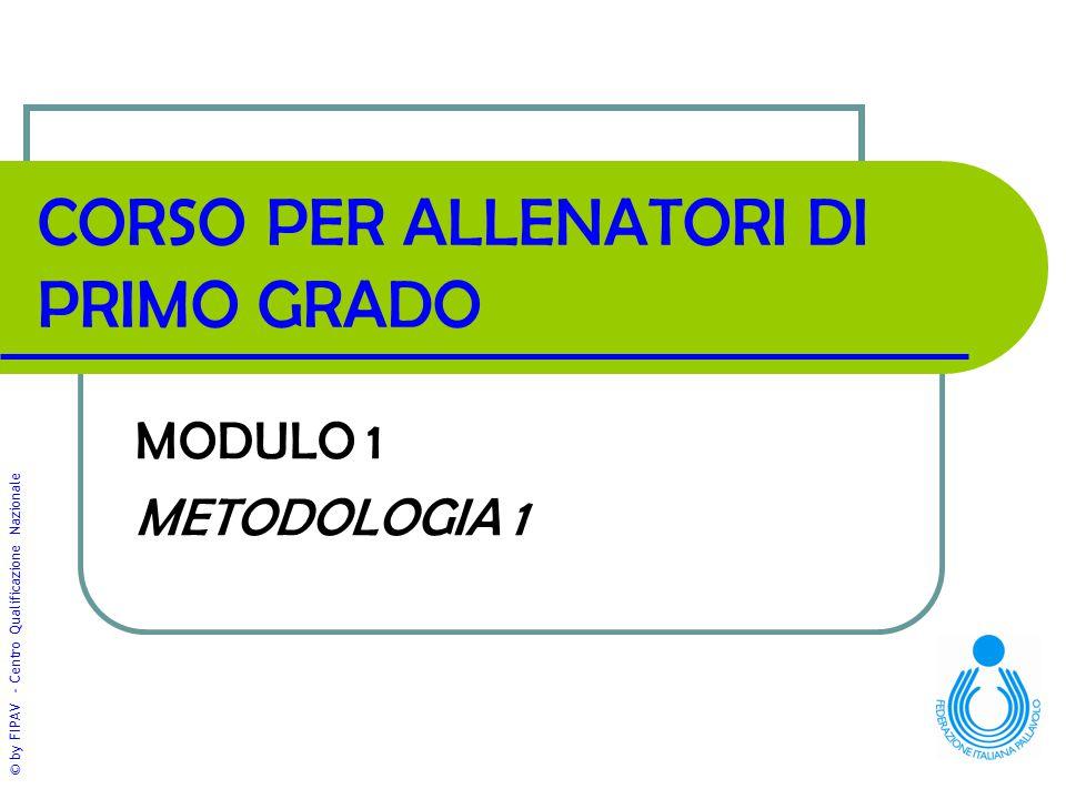 © by FIPAV - Centro Qualificazione Nazionale CORSO PER ALLENATORI DI PRIMO GRADO MODULO 1 METODOLOGIA 1