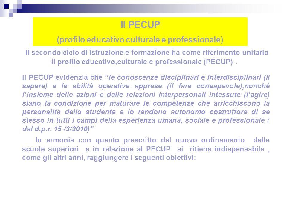 Il secondo ciclo di istruzione e formazione ha come riferimento unitario il profilo educativo,culturale e professionale (PECUP).