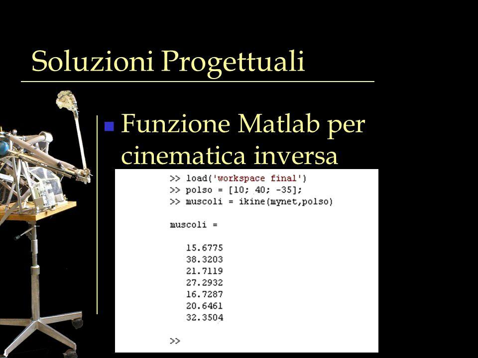 Soluzioni Progettuali Funzione Matlab per cinematica inversa Input coordinate x,y,z rete neurale Output lunghezze 7 muscoli
