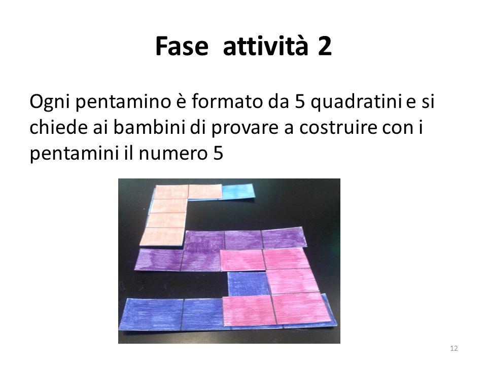 Fase attività 2 Ogni pentamino è formato da 5 quadratini e si chiede ai bambini di provare a costruire con i pentamini il numero 5 12