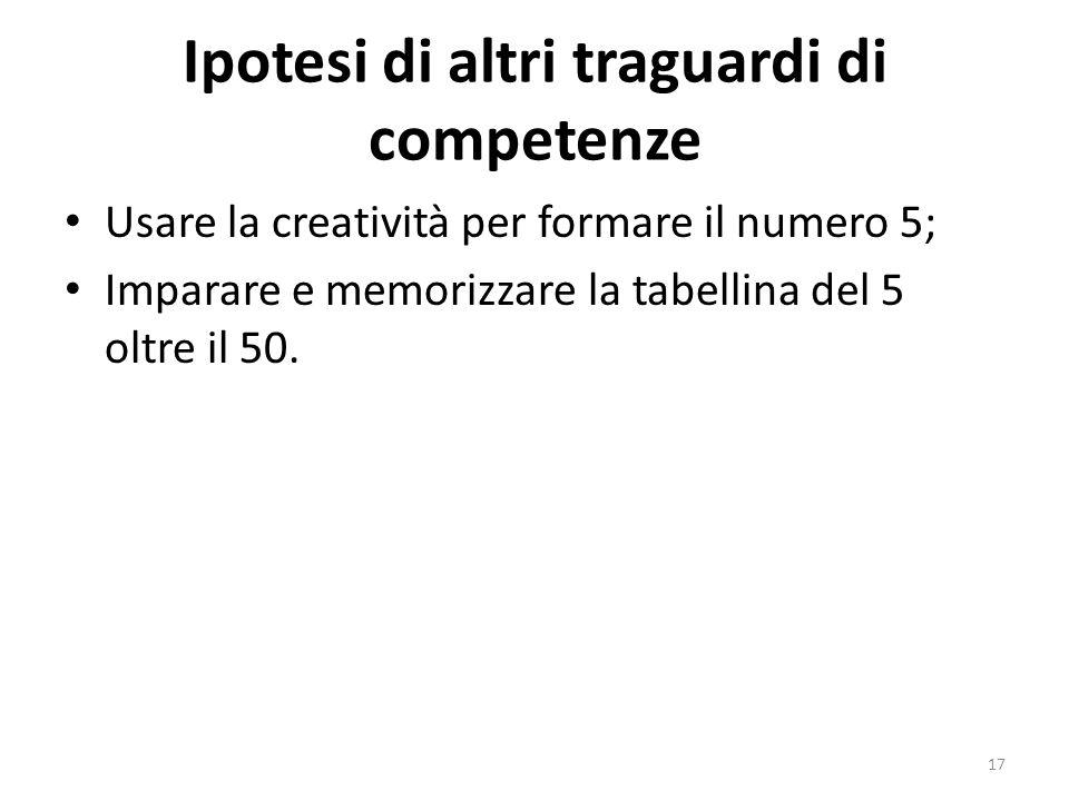 Ipotesi di altri traguardi di competenze Usare la creatività per formare il numero 5; Imparare e memorizzare la tabellina del 5 oltre il 50.