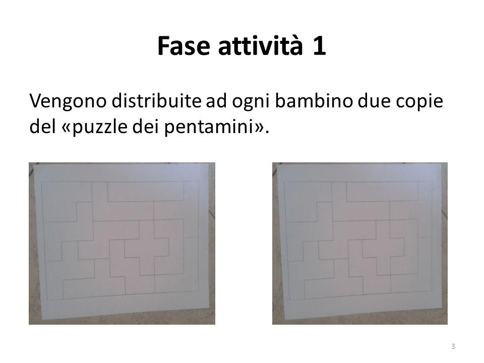 Fase attività 2 Una copia deve essere colorata secondo le indicazioni dell'insegnante mentre l'altra no; successivamente su quella colorata vanno tracciate le righe per dividere la figura in pentamini.