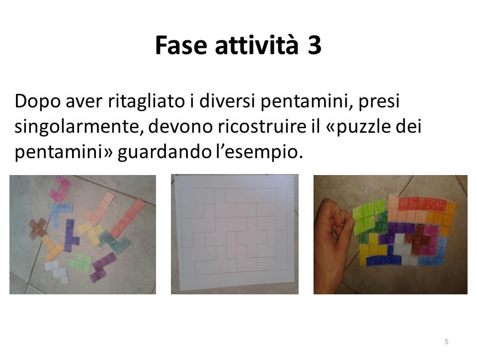 Fase attività 3 Dopo aver ritagliato i diversi pentamini, presi singolarmente, devono ricostruire il «puzzle dei pentamini» guardando l'esempio.