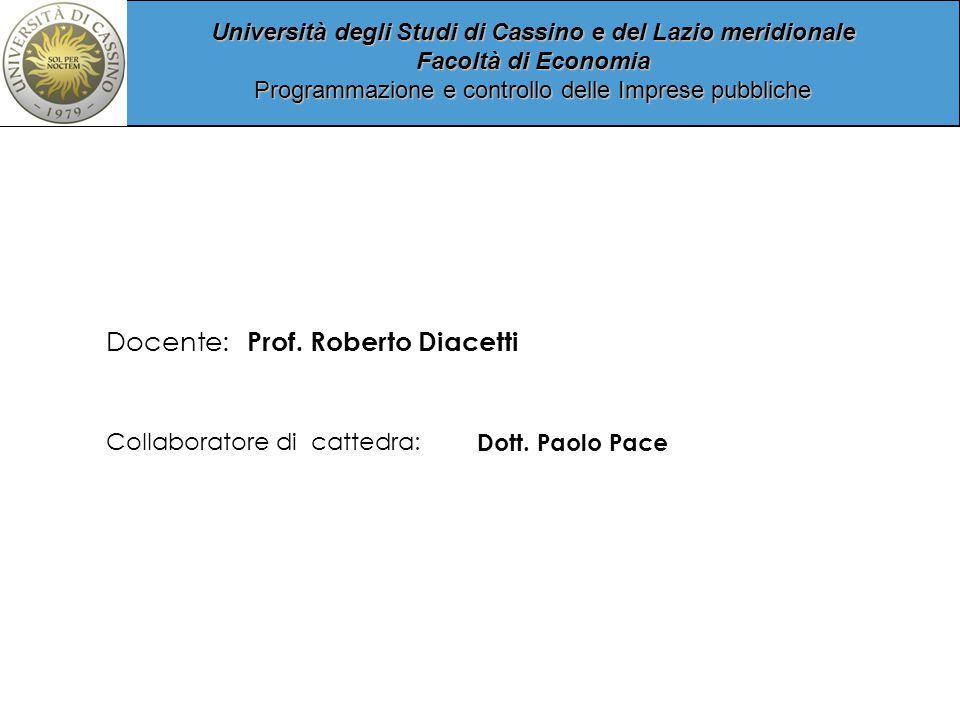 Università degli Studi di Cassino e del Lazio meridionale Facoltà di Economia Programmazione e controllo delle Imprese pubbliche Collaboratore di cattedra: Dott.