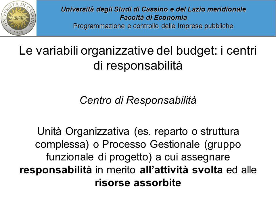 Università degli Studi di Cassino e del Lazio meridionale Facoltà di Economia Programmazione e controllo delle Imprese pubbliche Le variabili organizzative del budget: i centri di responsabilità Centro di Responsabilità Unità Organizzativa (es.