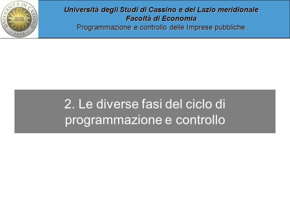Università degli Studi di Cassino e del Lazio meridionale Facoltà di Economia Programmazione e controllo delle Imprese pubbliche 2.