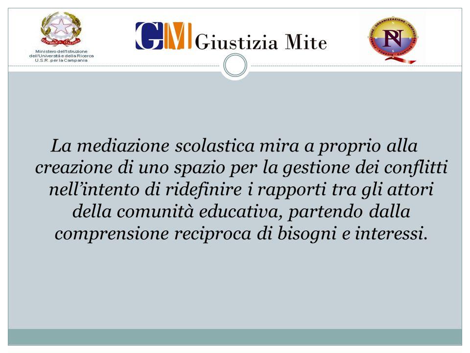 La mediazione scolastica mira a proprio alla creazione di uno spazio per la gestione dei conflitti nell'intento di ridefinire i rapporti tra gli attor