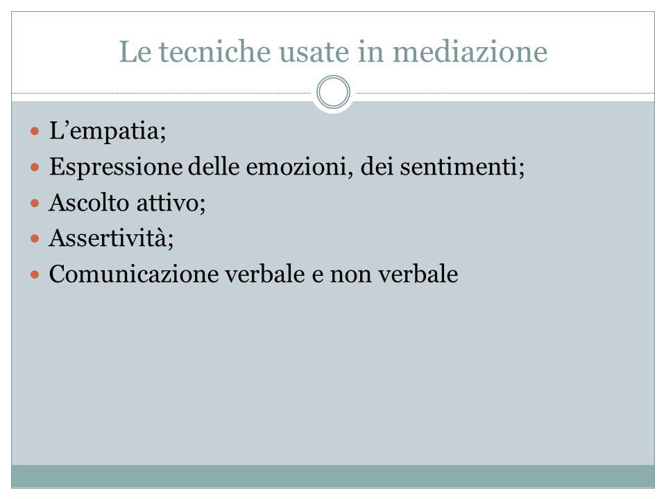 Le tecniche usate in mediazione L'empatia; Espressione delle emozioni, dei sentimenti; Ascolto attivo; Assertività; Comunicazione verbale e non verbal