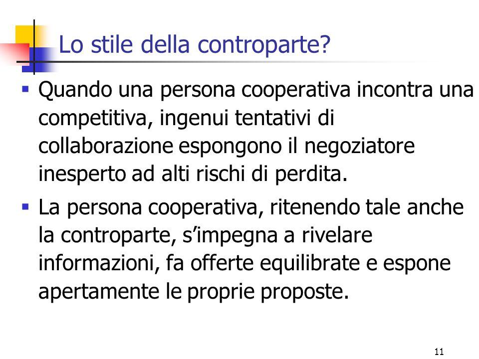 11 Lo stile della controparte?  Quando una persona cooperativa incontra una competitiva, ingenui tentativi di collaborazione espongono il negoziatore