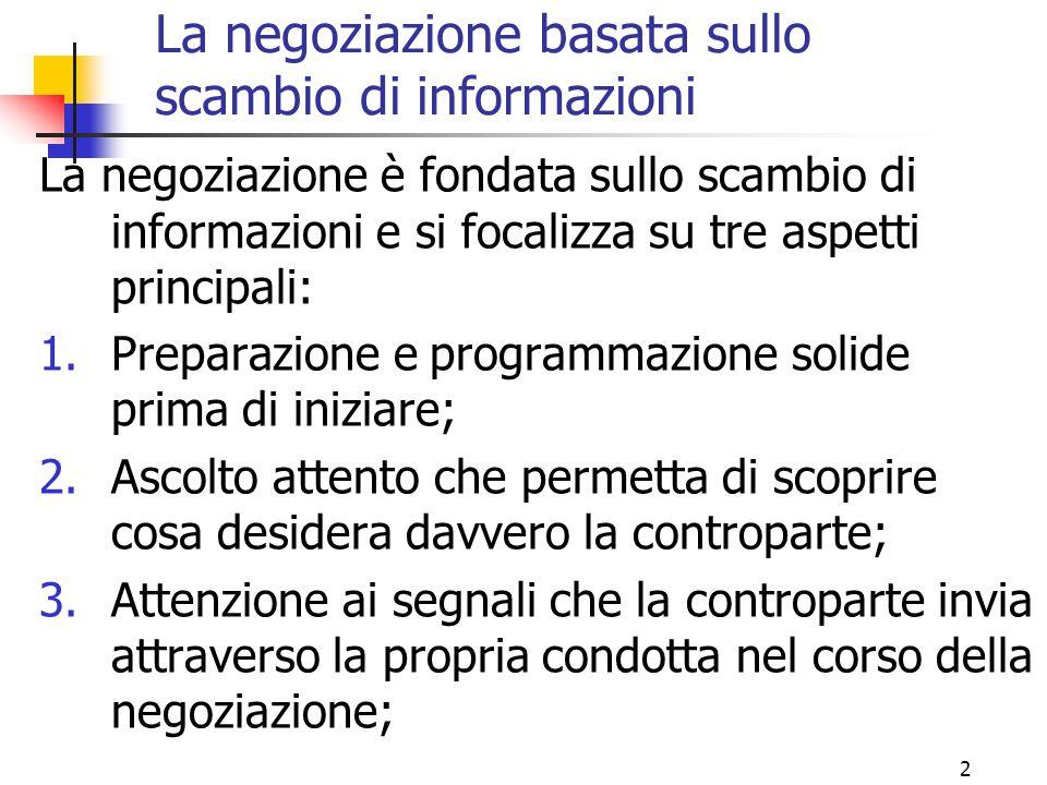 2 La negoziazione basata sullo scambio di informazioni La negoziazione è fondata sullo scambio di informazioni e si focalizza su tre aspetti principal