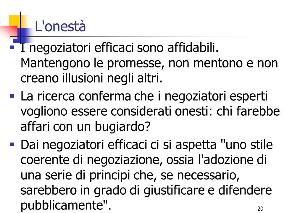 20 L'onestà  I negoziatori efficaci sono affidabili. Mantengono le promesse, non mentono e non creano illusioni negli altri.  La ricerca conferma ch