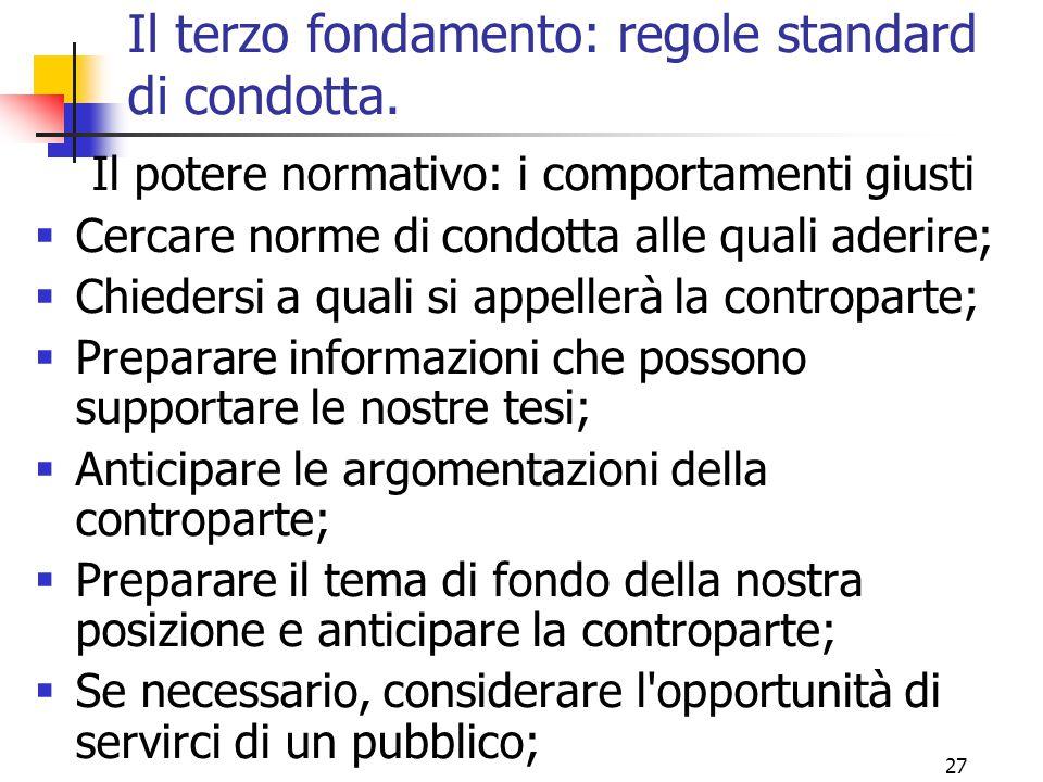 27 Il terzo fondamento: regole standard di condotta. Il potere normativo: i comportamenti giusti  Cercare norme di condotta alle quali aderire;  Chi