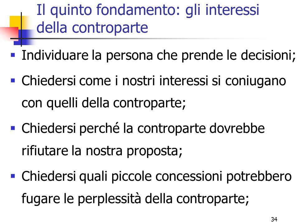 34 Il quinto fondamento: gli interessi della controparte  Individuare la persona che prende le decisioni;  Chiedersi come i nostri interessi si coni