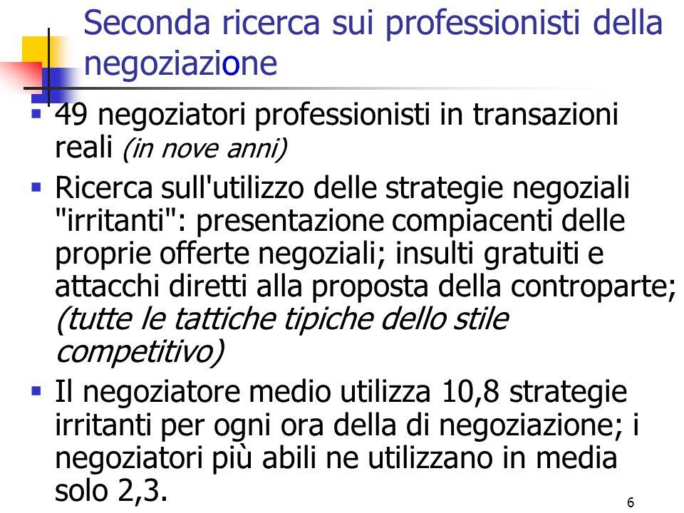 6 Seconda ricerca sui professionisti della negoziazione  49 negoziatori professionisti in transazioni reali (in nove anni)  Ricerca sull'utilizzo de