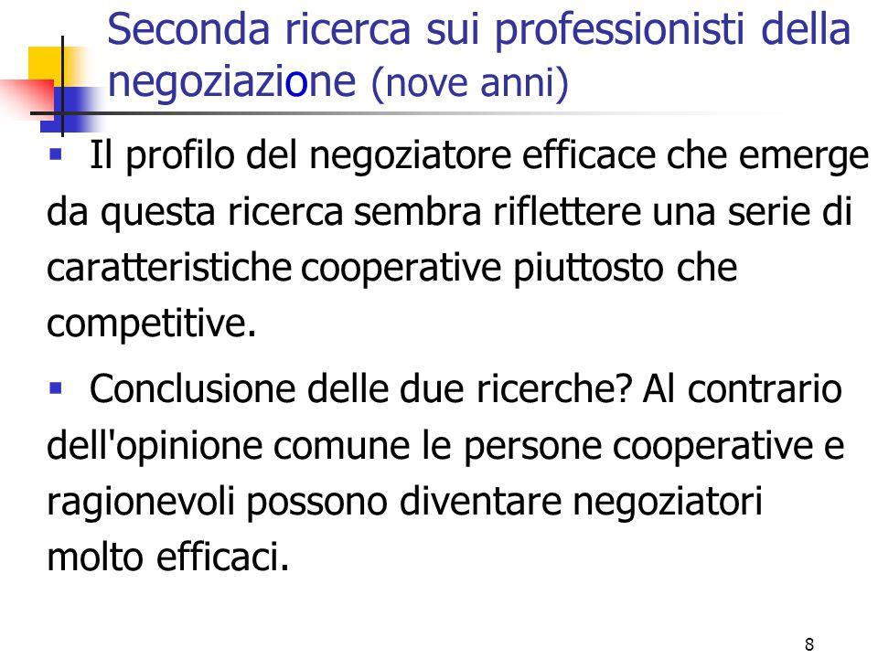 8 Seconda ricerca sui professionisti della negoziazione (nove anni)  Il profilo del negoziatore efficace che emerge da questa ricerca sembra riflette