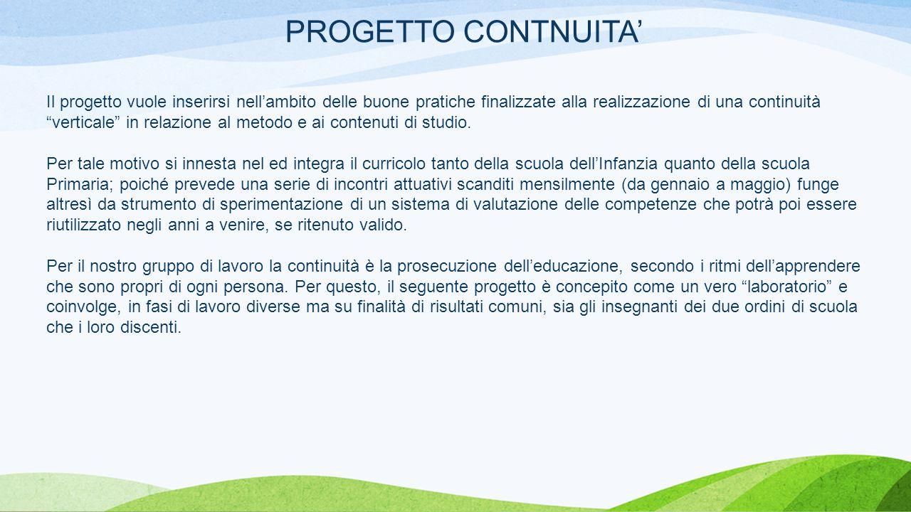 PROGETTO CONTNUITA' Il progetto vuole inserirsi nell'ambito delle buone pratiche finalizzate alla realizzazione di una continuità verticale in relazione al metodo e ai contenuti di studio.