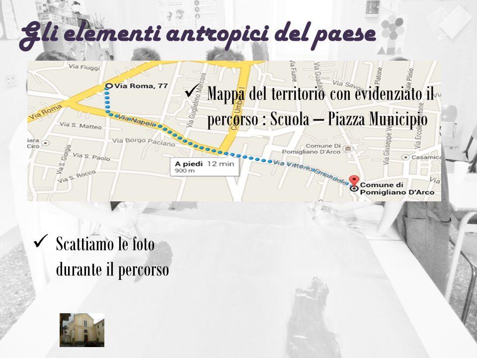 Gli elementi antropici del paese Mappa del territorio con evidenziato il percorso : Scuola – Piazza Municipio Scattiamo le foto durante il percorso