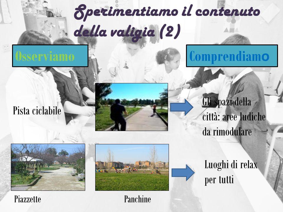 Sperimentiamo il contenuto della valigia (2) Osserviamo Comprendiam o Gli spazi della città: aree ludiche da rimodulare Luoghi di relax per tutti Pist