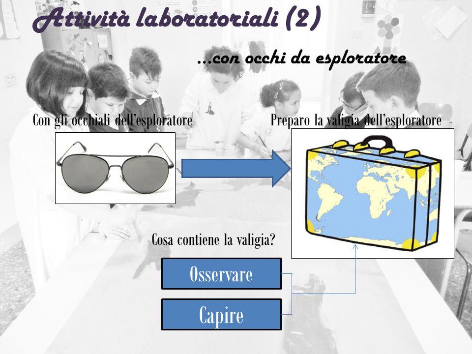 Attività laboratoriali (2) …con occhi da esploratore Con gli occhiali dell'esploratorePreparo la valigia dell'esploratore Osservare Capire Cosa contie