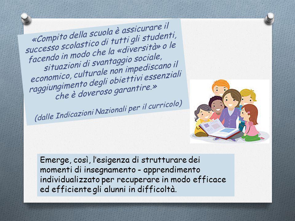 «Compito della scuola è assicurare il successo scolastico di tutti gli studenti, facendo in modo che la «diversità» o le situazioni di svantaggio soci