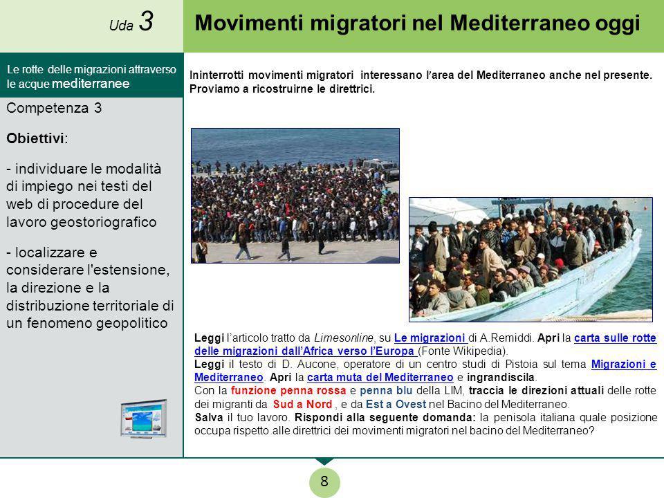 Movimenti migratori nel Mediterraneo oggi Leggi l'articolo tratto da Limesonline, su Le migrazioni di A.Remiddi. Apri la carta sulle rotte delle migra