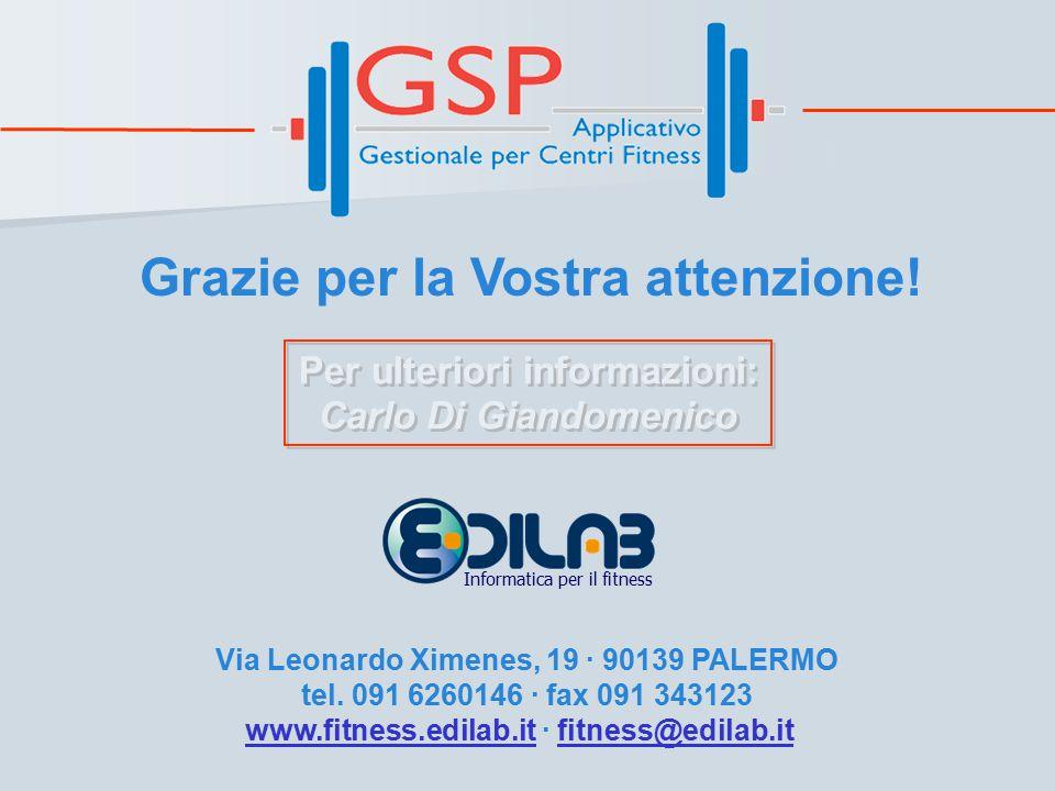 Per ulteriori informazioni: Carlo Di Giandomenico Per ulteriori informazioni: Carlo Di Giandomenico Grazie per la Vostra attenzione.