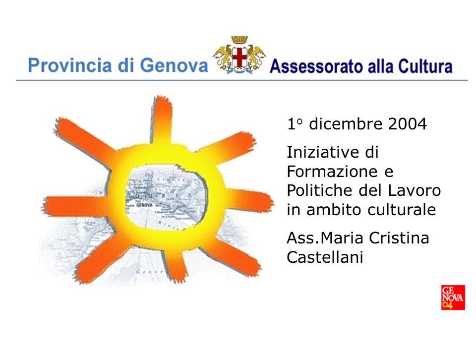 1 o dicembre 2004 Iniziative di Formazione e Politiche del Lavoro in ambito culturale Ass.Maria Cristina Castellani