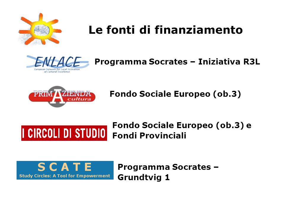 Programma Socrates – Iniziativa R3L Fondo Sociale Europeo (ob.3) Fondo Sociale Europeo (ob.3) e Fondi Provinciali Programma Socrates – Grundtvig 1 Le fonti di finanziamento