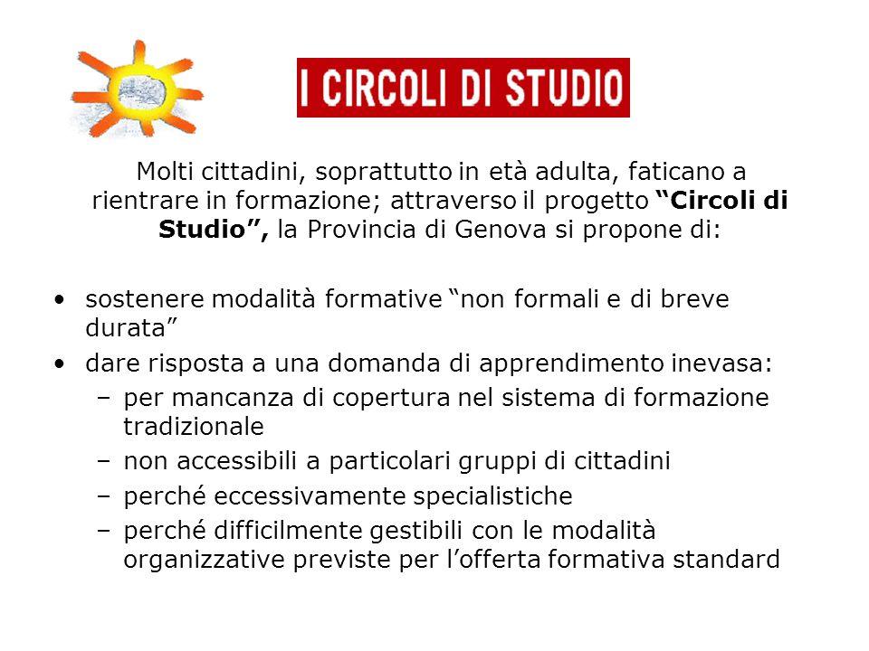 """Molti cittadini, soprattutto in età adulta, faticano a rientrare in formazione; attraverso il progetto """"Circoli di Studio"""", la Provincia di Genova si"""