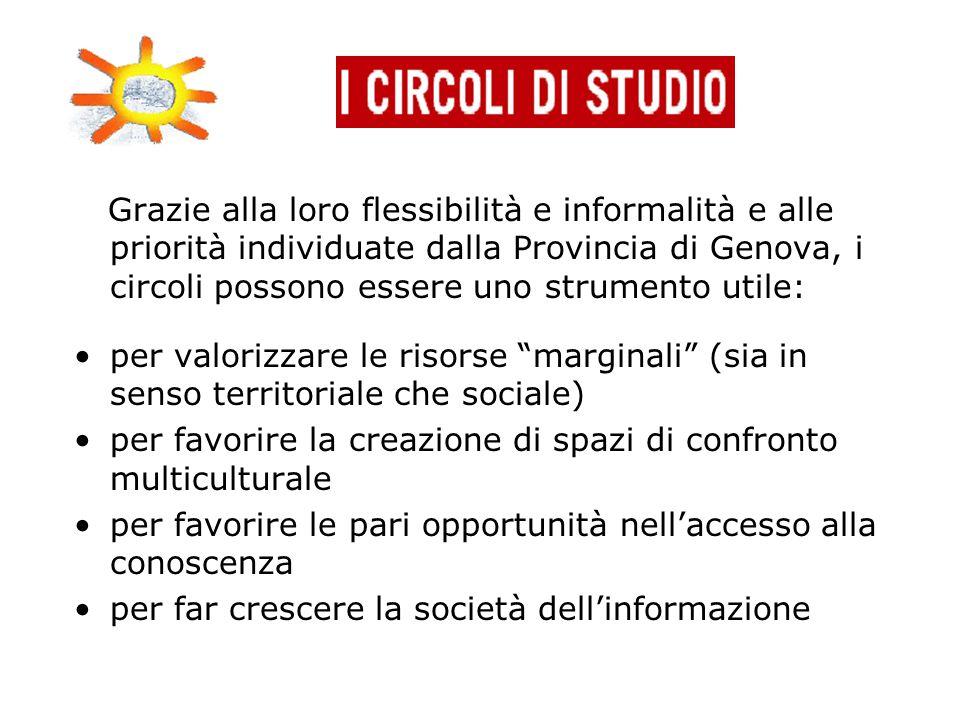 Grazie alla loro flessibilità e informalità e alle priorità individuate dalla Provincia di Genova, i circoli possono essere uno strumento utile: per v