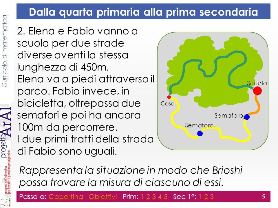 Dalla quarta primaria alla prima secondaria 2. Elena e Fabio vanno a scuola per due strade diverse aventi la stessa lunghezza di 450m. Elena va a pied
