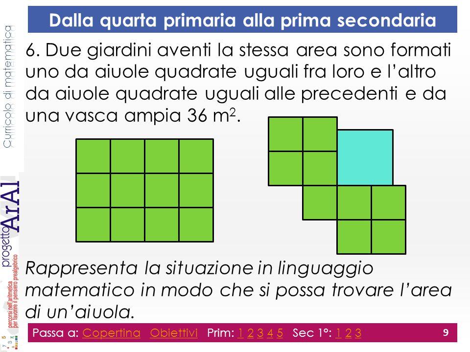 Dalla quarta primaria alla prima secondaria 6. Due giardini aventi la stessa area sono formati uno da aiuole quadrate uguali fra loro e l'altro da aiu