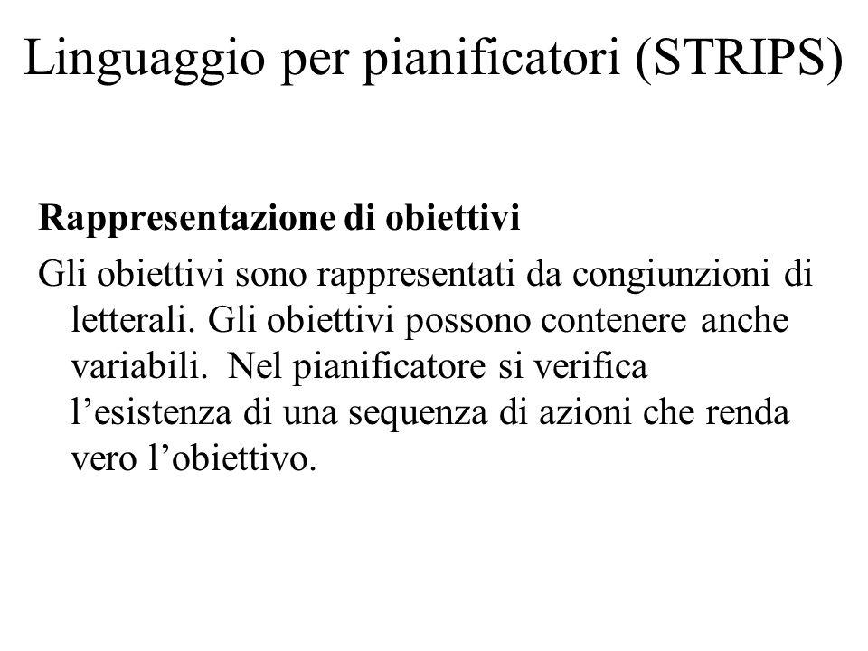 Linguaggio per pianificatori (STRIPS) Rappresentazione di obiettivi Gli obiettivi sono rappresentati da congiunzioni di letterali.