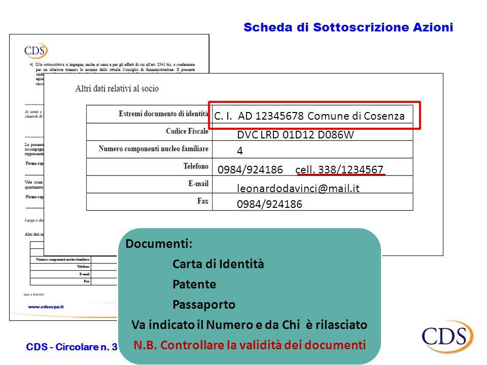 Scheda di Sottoscrizione Azioni CDS - Circolare n.